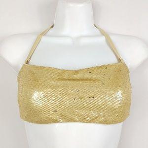 Gold Sequin Bikini Top